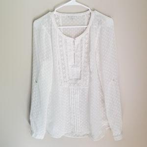 Daniel Rainn Semi-Sheer Boho Chic Crochet Blouse